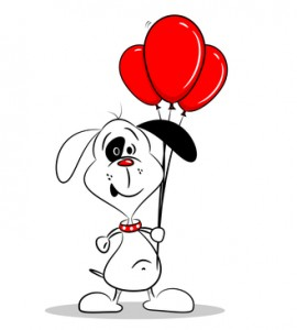 about us dog with balloons