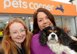 Assistant manager Adele Cook with Caroline Maguire and her recovering dog Tessa