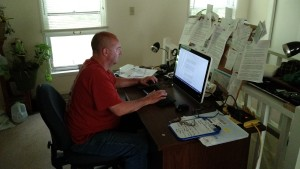 Richard Prince typing this blog in the Daxton's Friends war room